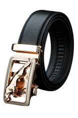 Sanwood Men's Fashion Golden Automatic Buckle Business Faux Leather Belt Size 28.115cm