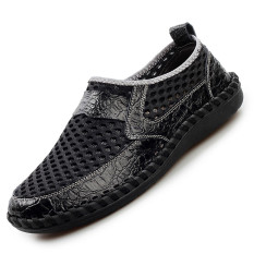Seanut Men's Fashion Breathable Mesh Shoes Casual Shoes (Black)