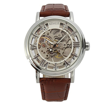 Sewor Men's Skeleton Transparent Mechanical Stainless Leather Strap Watch Sliver (Intl)