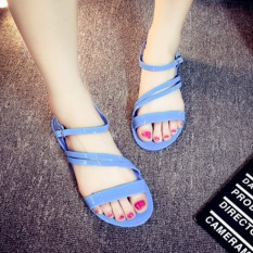 Sexy Woman Flat Roman Sandals Slip Casual Beach Sandals Slippers-Blue