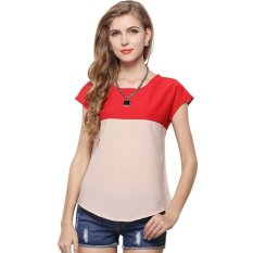 Sexy Woman's Summer Fashion Color Stitching Loose Chiffon Shirt - Intl