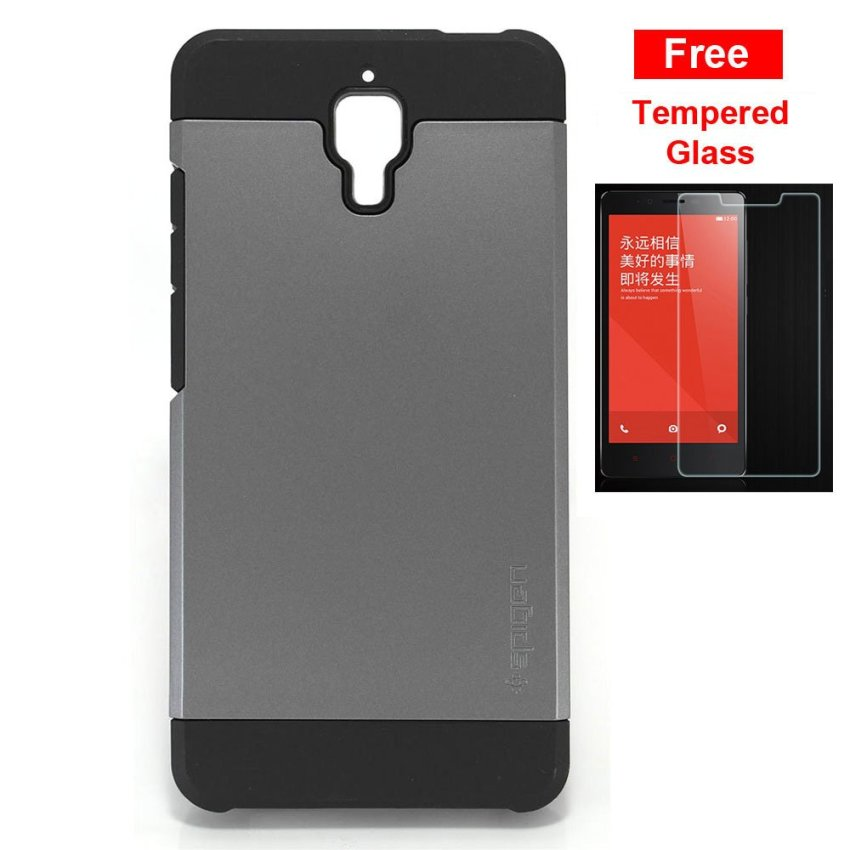 SGP Slim Armor for Xiaomi Mi4- Abu-Abu + Gratis Tempered Glass Clear