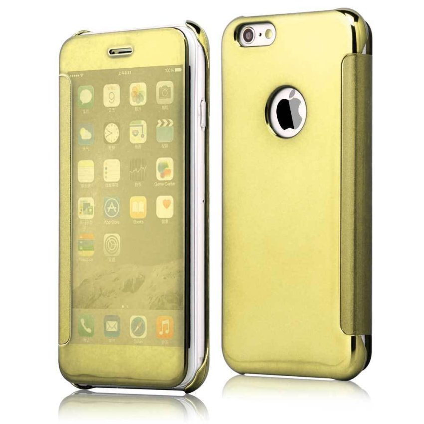 Shockproof Luxury Flip Mirror Hard Clear Slim Cover for iPhone 6 Gold (Intl)
