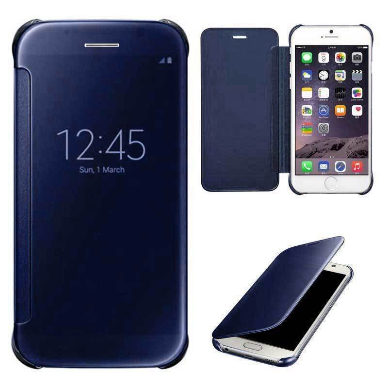 Shockproof Luxury Flip Mirror Hard Clear Slim Cover for iPhone 6 plus Dark Blue (Intl)