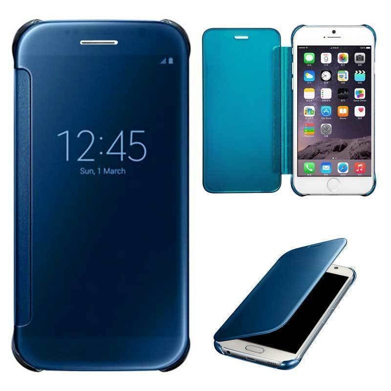 Shockproof Luxury Flip Mirror Hard Clear Slim Cover for iPhone 6 plus LakeBlue (Intl)