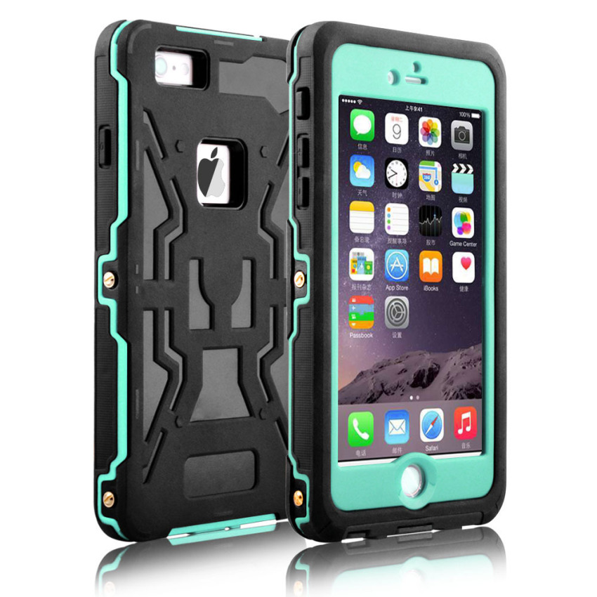 Silicone Gel + PC Waterproof/Shockproof Case for iPhone 6/6s Plus (MintGreen) (Intl)