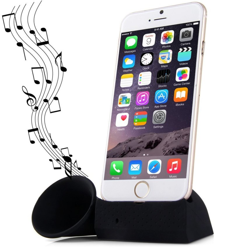 Silicone Horn Phone Stand for iPhone 6/6/Plus/5/5S/5C/4/4S (Black) (Intl)