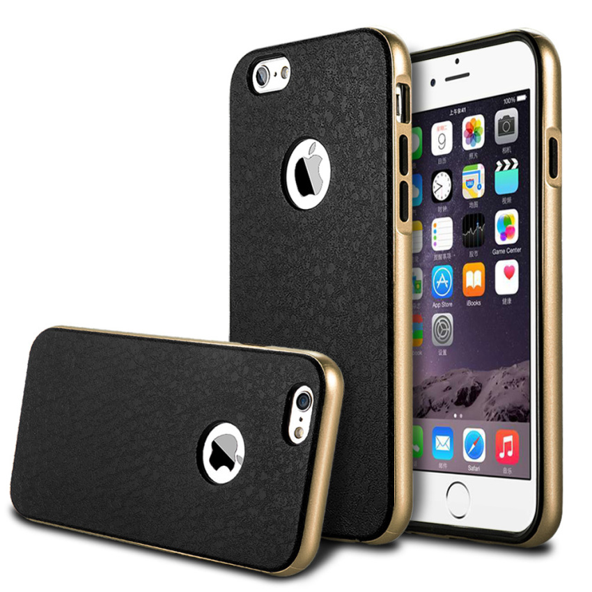 Silicone Metal Frame + Hard PC Hybrid Armor Slim Logo Case for iPhone 6 Gold (Intl)
