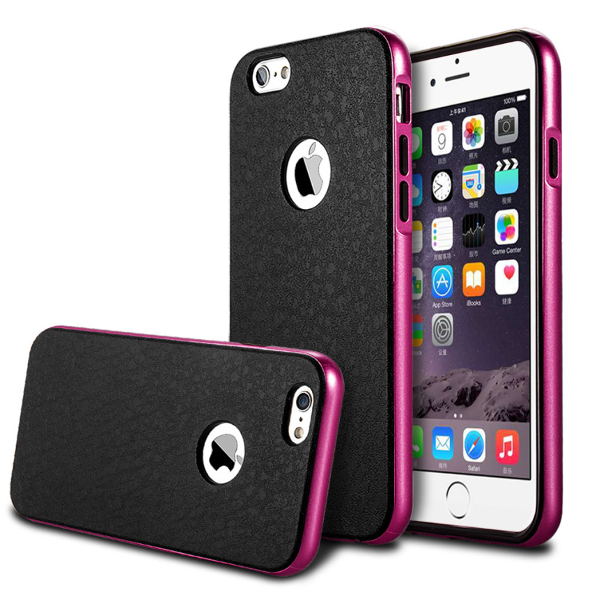 Silicone Metal Frame + Hard PC Hybrid Armor Slim Logo Case for iPhone 6 Pink (Intl)