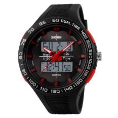 SimpleHome Skmei 1066 Men's Sports Dual Display Outdoor Waterproof Mountaineering Waterproof LED Multi-function Electronic Watch Red - Intl