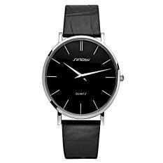 SINOBI 0.6mm Ultra Thin Watchcase Slim Quartz Casual Wristwatch JAPAN Genuine Leather Analog Quartz Watch Men's 2016 Relogio Masculino