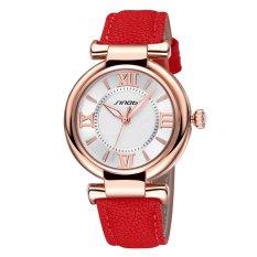 SINOBI Roman Fashion Women Analog Quartz Mvmt Leather Strap Casual Lady Dress Relogios Watch Gold Red