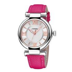 SINOBI Roman Fashion Women Analog Quartz Mvmt Leather Strap Casual Lady Dress Relogios Watch Rose Red