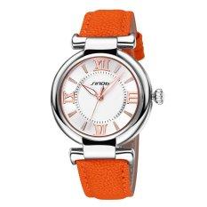 SINOBI Roman Fashion Women Analog Quartz Mvmt Leather Strap Casual Lady Dress Relogios Watch Silver Orange