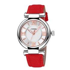 SINOBI Roman Fashion Women Analog Quartz Mvmt Leather Strap Casual Lady Dress Relogios Watch Silver Red