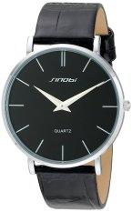 SINOBI Ultra-thin Case Men's Fashion Stainless Steel Quartz Wrist Watch W / BLACK Leather Wristband
