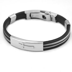 Sirius Jewelry Silver Cross Pattern Rubber Bracelet With Gift Box With Stainless Steel Clasp (Intl)