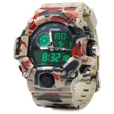Skmei 1029 Army LED Dual-movt Wristwatch Week Date Stopwatch 5ATM Water Resistant Military Watch For Sports - Intl