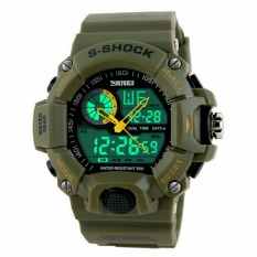 SKMEI 1029 Men Sports Watches Digital LED Fashion Casual Watch Men's Military Multifunctional Clock Male Wristwatch (Army Green) - Intl