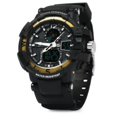Skmei 1040 Dual Movement 5ATM Water Resistant LED Watch With Week Date Stopwatch (Golden + Black)