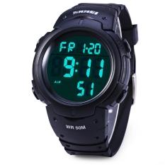 Skmei 1068 Multifunctional LED Military Watch Alarm Stopwatch Water Resistant (Black)