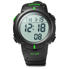 Skmei 1068 Multifunctional LED Military Watch Alarm Stopwatch Water Resistant (Green)