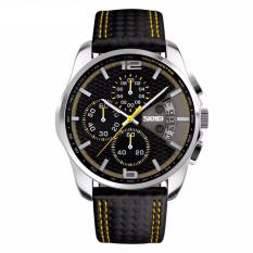 Skmei 9106 Sports Watches Men's Quartz Hour Date Clock Man Leather Strap Waterproof Wristwatch (Intl)