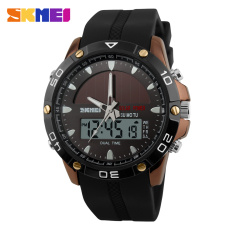 SKMEI Brand Solar Power Energy Sport Watch Men Dual Time Zone Waterproof Digital Quartz Solar Watches (Brown)