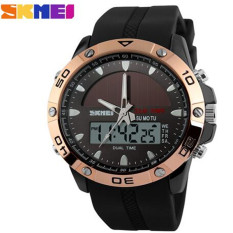 SKMEI Brand Solar Power Energy Sport Watch Men Dual Time Zone Waterproof Digital Quartz Solar Watches (RoseGold)