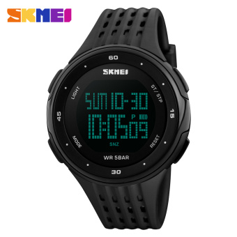 SKMEI Luxury Brand Men Sports Watches 50m Waterproof Digital LED Military Watch Men Casual Outdoor Electronics Wristwatches (Black)