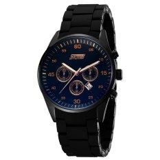 SKMEI Men Citizen Quartz Waterproof Watch Luxury Round Time Calendar Silicone Strap 3 Sub-dials Casual Watches (Black)