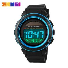 SKMEI Solar Power Sport LED Watch Water Resistant 50m - DG1096 - Black / Blue