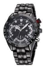 SKONE Luminous Hands Analog Date Calendar Steel Band Men Quartz Sport Military Watches (Black)