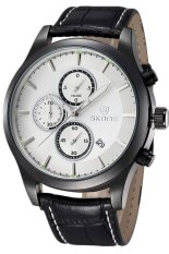 Skone Men's 24 Hours Function Sub-dials Leather Luxury Chronograph Watches White 2488