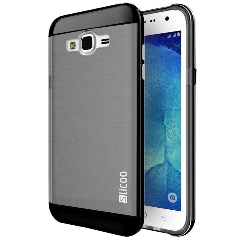 Slicoo Brushed Texture Electroplating Combination Case for Samsung Galaxy J5 / J500(Black)