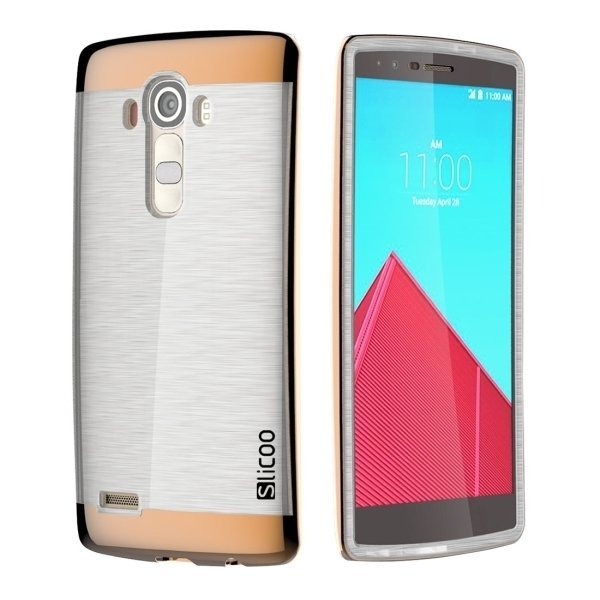 Slicoo Brushed Texture Electroplating TPU + PC Back Case for LG G4 / H815 (Coffee) (Intl)