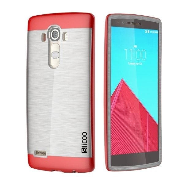 Slicoo Brushed Texture Electroplating TPU + PC Back Case for LG G4 / H815 (Red) (Intl)