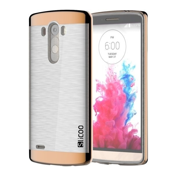 Slicoo Brushed Texture Electroplating Transparent TPU + PC Back Case for LG G3 / D855 (Coffee) (Intl)