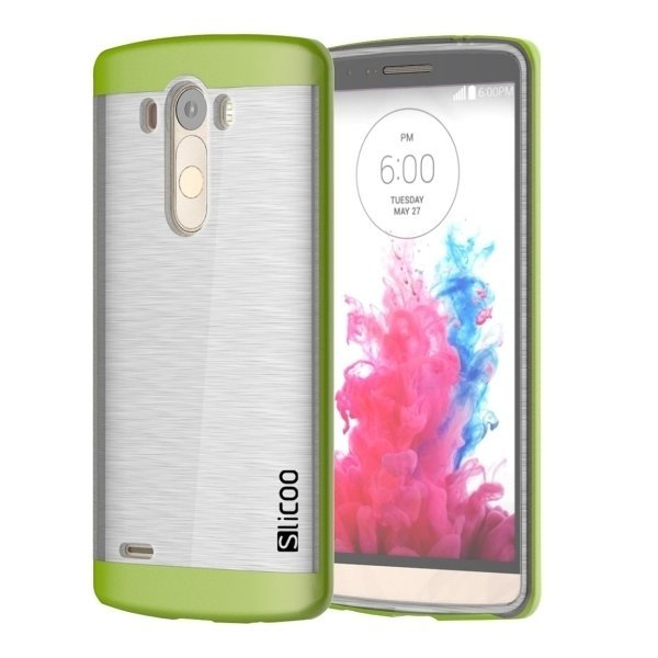 Slicoo Brushed Texture Electroplating Transparent TPU + PC Back Case for LG G3 / D855 (Green) (Intl)