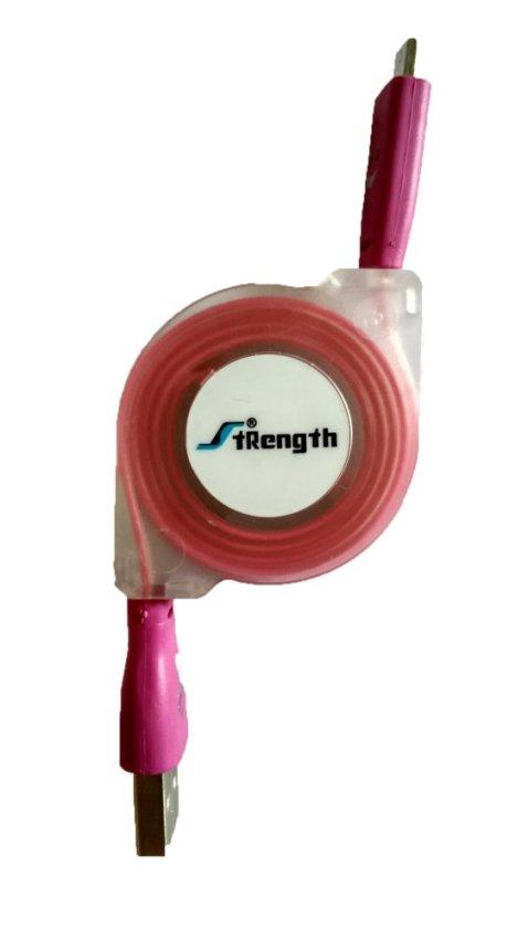 Smart Kabel Data Tarik Smile Warna & Nyala 1m - Pink