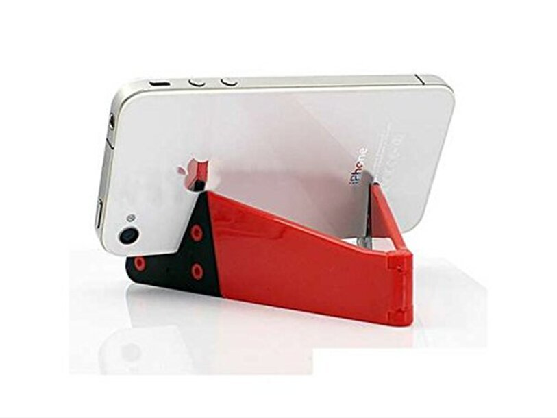 Smart Phone and Tablet Stand - Foldable Vertical and Horizontal Mount for iPhone / iPad / Samsung Galaxy / HTC One and all Mobile Phones Red