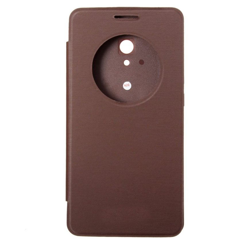 Smart Window Flip PU Leather Hard Cover Case For ASUS Zenfone 2/5/6 (Brown) (Intl)