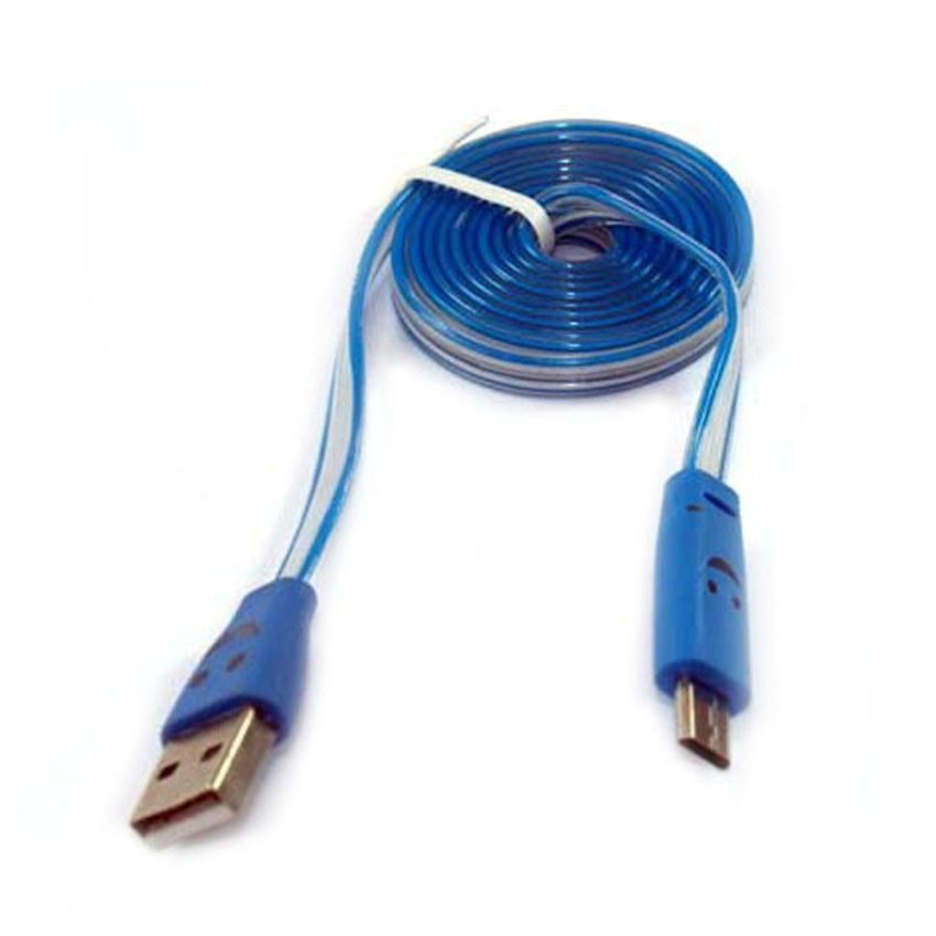 Smile Kabel Data Micro USB LED - Biru