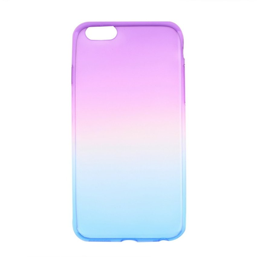 Soft Thin TPU Clear Ombre Case Skin Cover For iPhone 6 4.7inch blueAndpurple