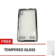 Softcase Lenovo A6000 List Chrome - Hitam Transparant + Tempered Glass