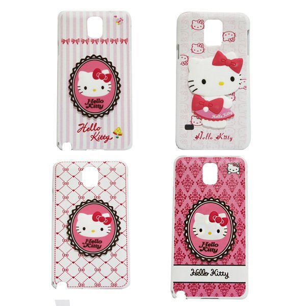 SPAC 3D Hello Kitty Case putih pink damask - Samsung Note 3