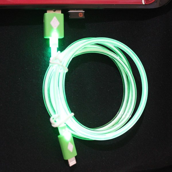 SPAC LED Lighting Neon Data Cable Micro USB for Samsung / Blackberry / General - Hijau