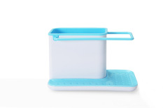 Sponge Holder Kitchen Box Draining Rack Dish Self Draining Sink Storage Rack Kitchen Organizer (Blue)