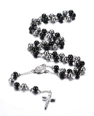 Stainless Steel Rosary Beads Catholic Crucifix Long Chain Cross Necklace, Black And Silver (Intl)