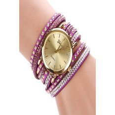 Stylish Rhinestone Rivet Circle Belt Synthetic Leather Bracelet Watch Wrist Watches (Purple) (Intl)